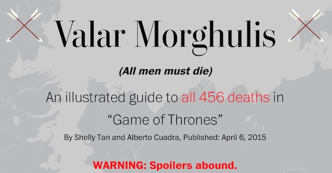 game of thrones morti