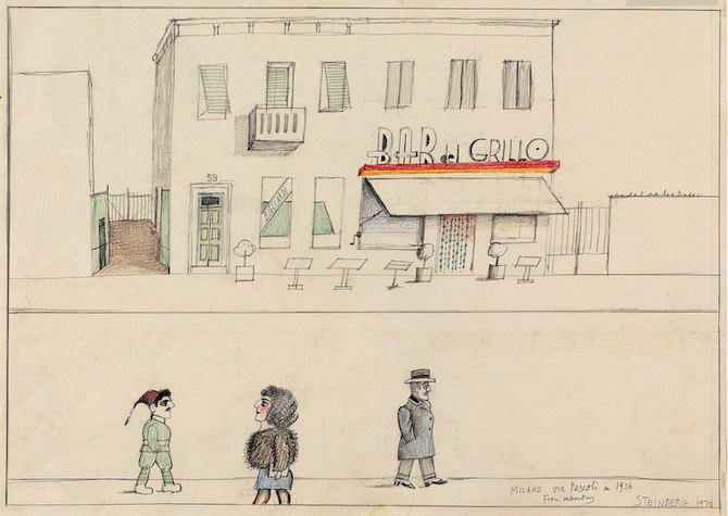 Milano Via Pascoli in 1936 from Memory. 1970, pencil and colored pencil on  paper, 46.7 x 61.9 cm. Originally published in The New Yorker, October 7, 1974 © The Saul Steinberg Foundation/ARS, NY