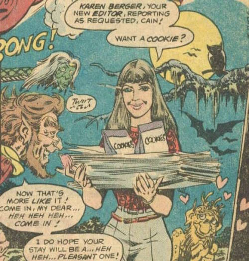 Karen Berger ritratta in 'House of Mistery' #292, DC Comics, 1982