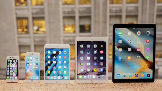 iPhone 6S, 6S Plus, iPad Mini 4, iPad Air 2, iPad Pro (da sinistra a destra) | Foto: Sarah Tew / CNET