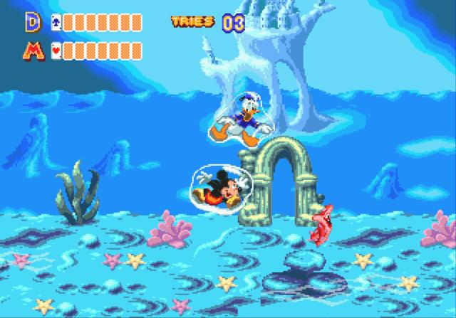 World of Illusion, starring Mickey Mouse and Donald Duck. Livello con le bolle natatorie.