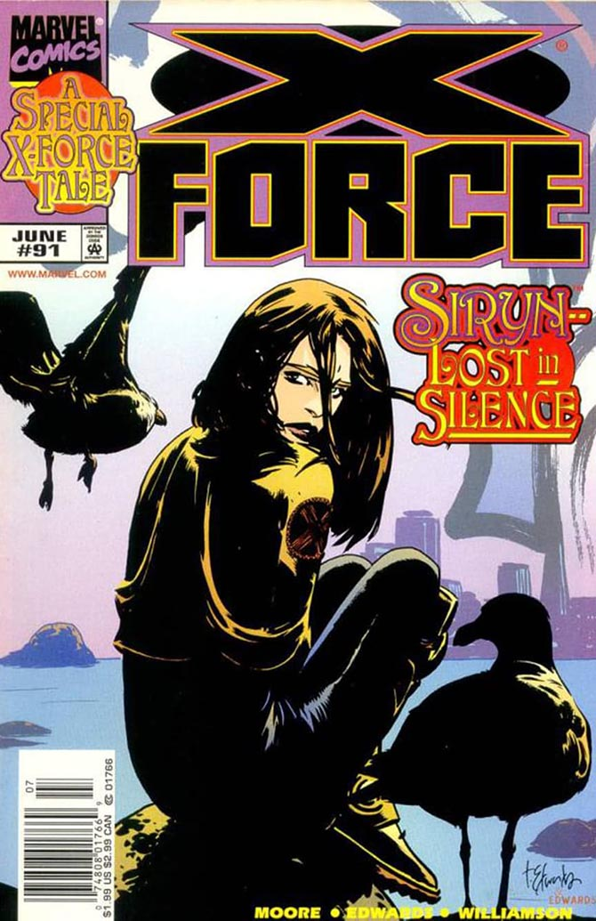 "11. X-Force #91, ""Fallout"", di John Francis Moore e Tommy Lee Edwards"