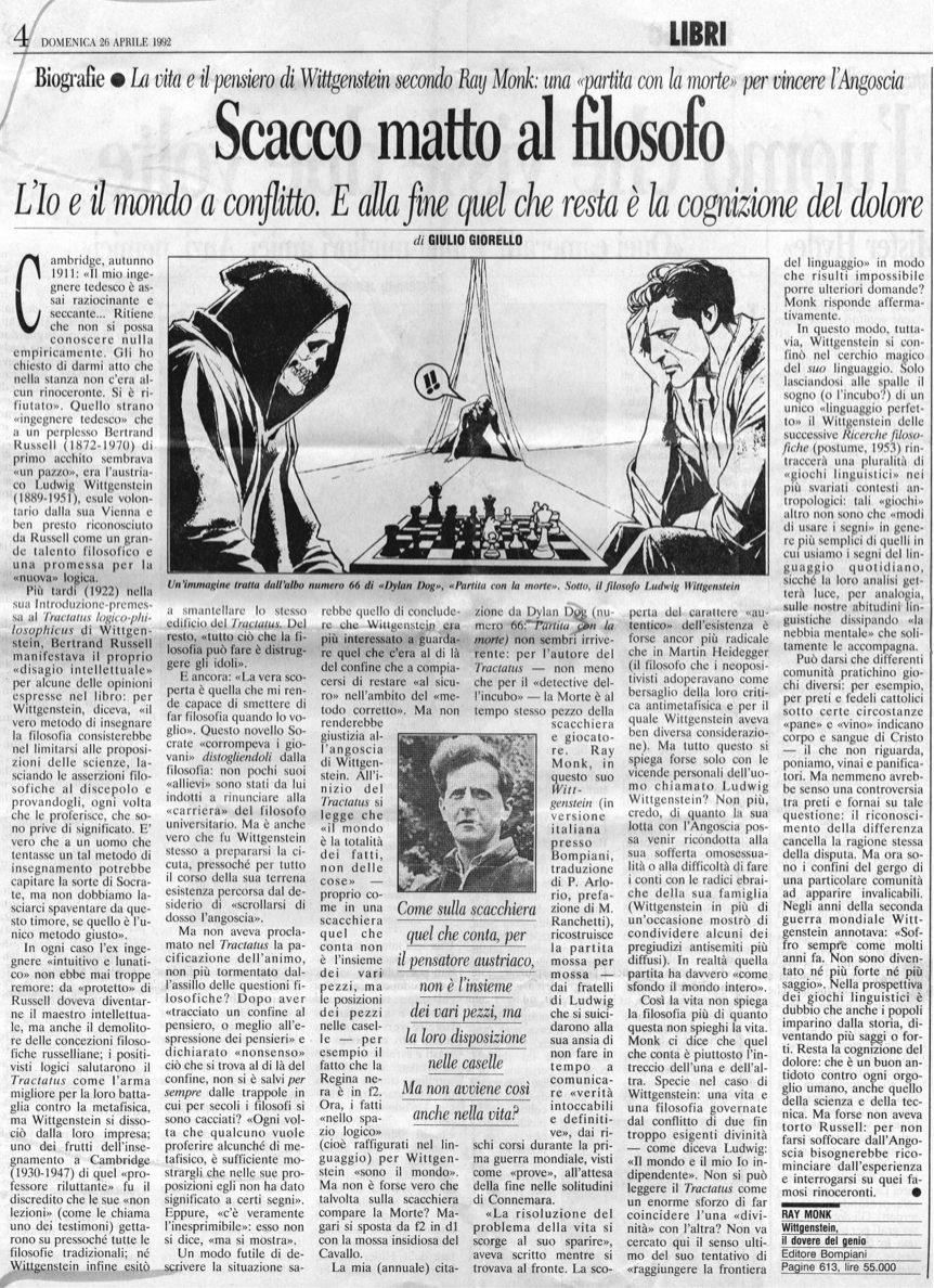 dylan dog giornali corriere della sera 26 4 92