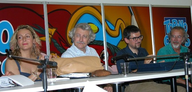 Claretta Muci, Ivo Milazzo, Tito Faraci e Giorgio Cavazzano a Torino Comics nel 2004 storia topolino direttori
