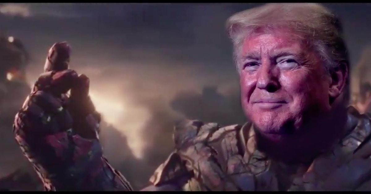 donald trump thanos snap video