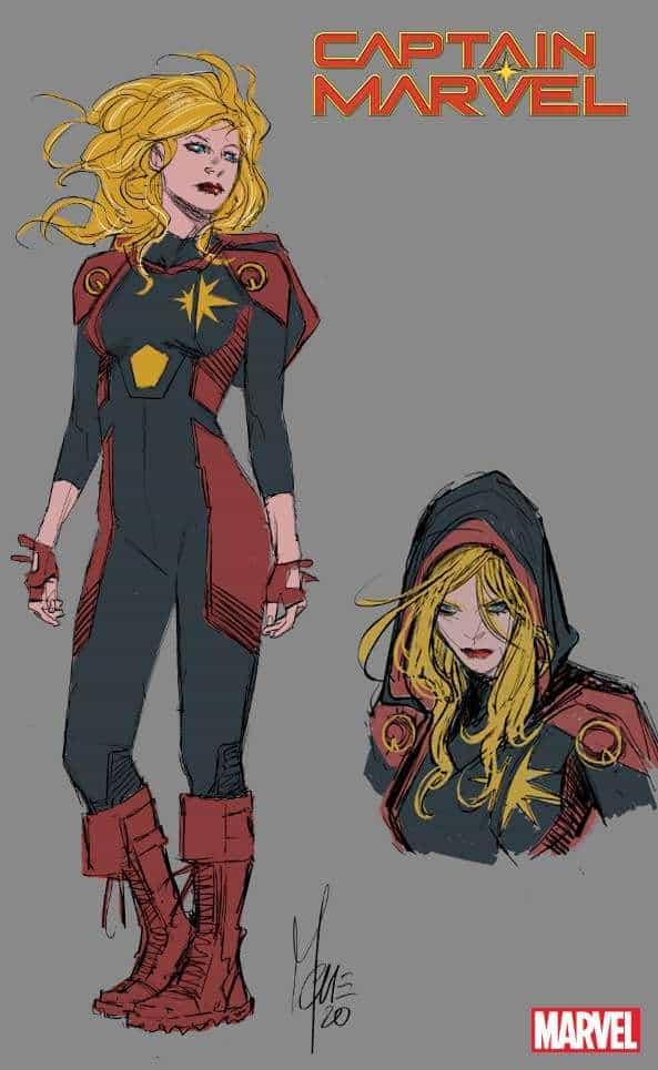 Il design di Marco Checchetto per il nuovo costume di Capitan Marvel